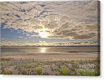 Canvas Print featuring the photograph Post-tourist Sunrise Ocean City by Jim Moore