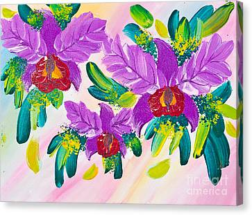 Poster Color Drawing Flowers Canvas Print by Mongkol Chakritthakool