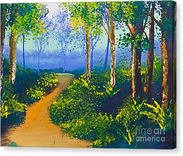 Poster Color Drawing Walk Way In Forest Canvas Print by Mongkol Chakritthakool