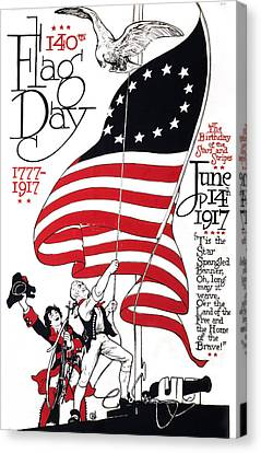 Poster For 140th Flag Day, 1777-1917 Canvas Print by Everett