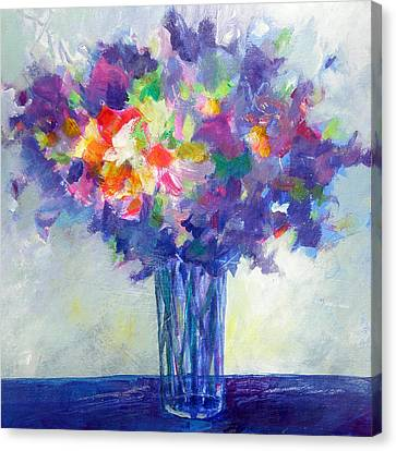 Posy In Lavender And Blue - Painting Of Flowers Canvas Print by Susanne Clark