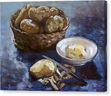 Peeling Canvas Print - Potatoes by Ylli Haruni