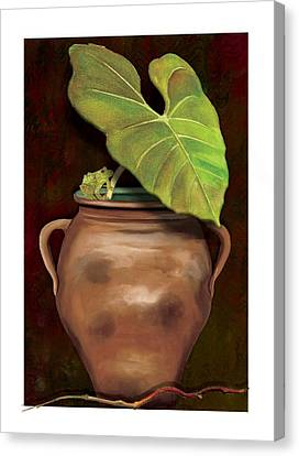 Canvas Print featuring the painting Pottery Jar by Anne Beverley-Stamps