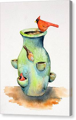 Pottery Vase And Birds Canvas Print by Arline Wagner