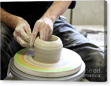 Hand Thrown Pottery Canvas Print - Pottery Wheel, Sequence by Ted Kinsman