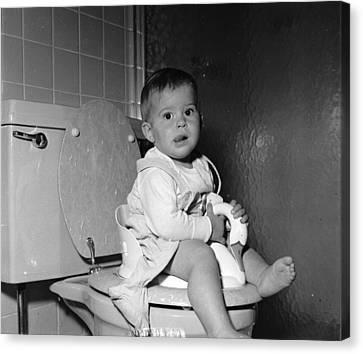 Domestic Bathroom Canvas Print - Potty Training by Yearwood