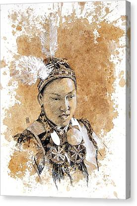 Pow Wow Girl Canvas Print by Debra Jones