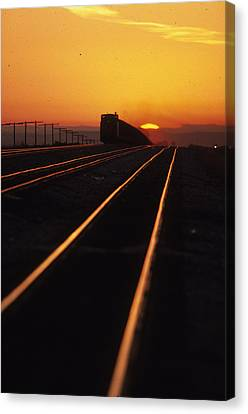 Powder River Sunset Caboose Canvas Print by Susan  Benson
