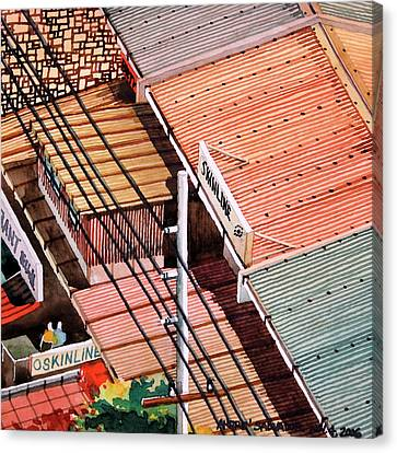 Power Lines And Roofs Canvas Print
