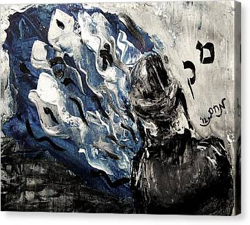 Canvas Print featuring the painting Power Of Prayer With Hasid Reading And Hebrew Letters Rising In A Spiritual Swirl Up To Heaven by M Zimmerman