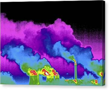 False Power Canvas Print - Power Station, Thermogram by Tony Mcconnell