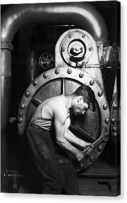 Powerhouse Mechanic Canvas Print by Lewis Wickes Hine