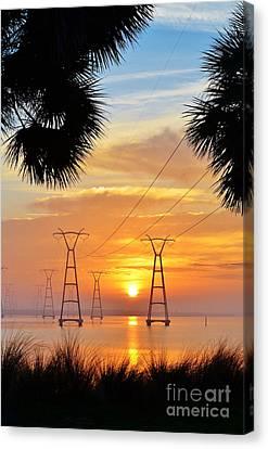Powerline Sunrise Canvas Print