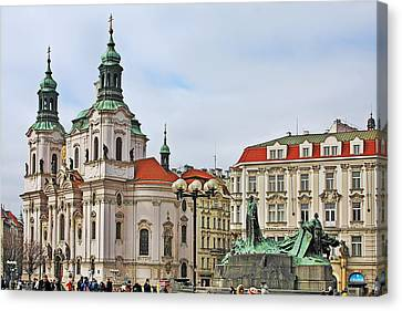 Prague - St Nicholas Church Old Town Square Canvas Print by Christine Till