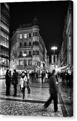 Prague At Night Canvas Print by Stelios Kleanthous