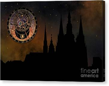 Prague Casle - Cathedral Of St Vitus - Monuments Of Mysterious C Canvas Print by Michal Boubin