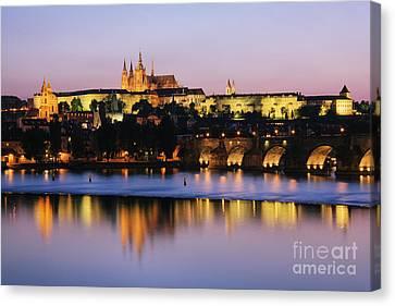 Prague Castle On The Riverbank Canvas Print by Jeremy Woodhouse