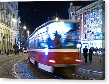 Prague Tram Canvas Print by Stelios Kleanthous
