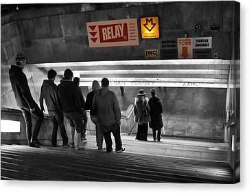 Prague Underground Station Stairs Canvas Print by Stelios Kleanthous