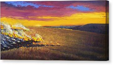 Canvas Print featuring the painting Prairie Fire by Rod Seel