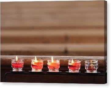 Prayer Candles In Church Canvas Print