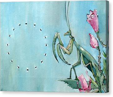 Praying Mantis And Flies In Circle Canvas Print by Fabrizio Cassetta