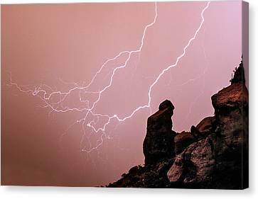 Praying Monk Camelback Mountain Lightning Monsoon Storm Image Canvas Print by James BO  Insogna