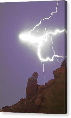Praying Monk Lightning Halo Monsoon Thunderstorm Photography Canvas Print