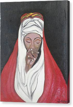 Praying Woman-oil Painting Canvas Print by Rejeena Niaz
