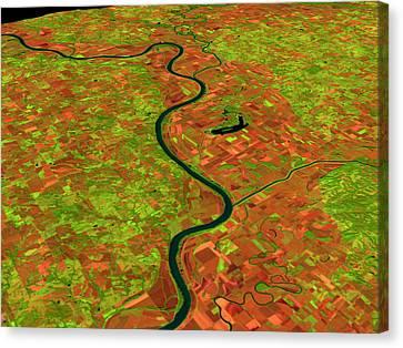 Pre-flood Missouri River Canvas Print by Nasagoddard Space Flight Center