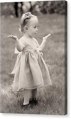 Precious Vintage Girl In Dress Canvas Print