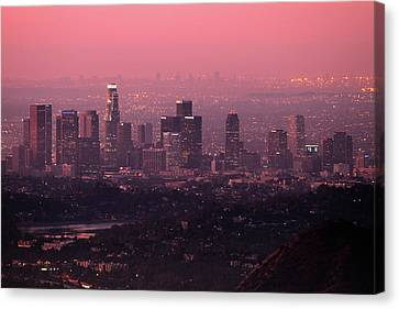 Predawn Light On Downtown Los Angeles. Canvas Print by Eric A Norris