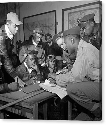 Preflight Briefing Of Several Tuskegee Canvas Print by Everett