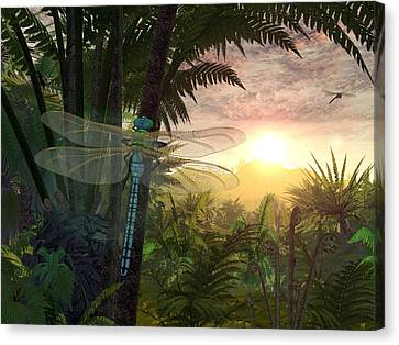 Meganeura Canvas Print - Prehistoric Dragonfly, Artwork by Walter Myers