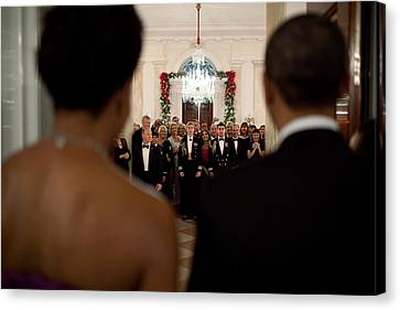 President And Michelle Obama Face White Canvas Print