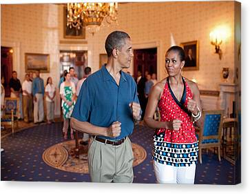 President And Michelle Obama Pretend Canvas Print by Everett