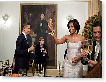 President And Michelle Obama Toast Canvas Print by Everett