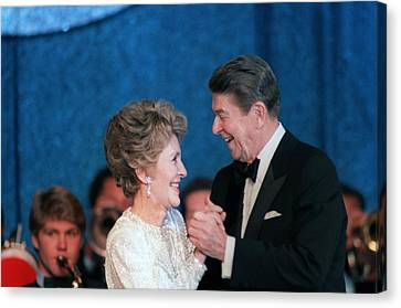 President And Mrs. Reagan Dance Canvas Print by Everett