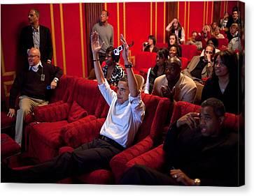President Barack Obama Celebrates Canvas Print by Everett
