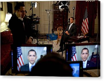 President Barack Obama Conducting Canvas Print by Everett