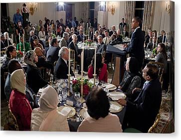 President Barack Obama Delivers Remarks Canvas Print by Everett