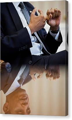 President Barack Obama Gestures Canvas Print by Everett