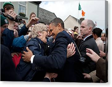 President Barack Obama Greets A Local Canvas Print by Everett