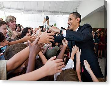 President Barack Obama Greets Young Canvas Print by Everett