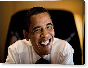 President Barack Obama Laughs During An Canvas Print by Everett