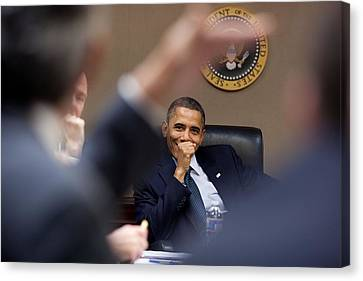 Democrats Canvas Print - President Barack Obama Laughs by Everett