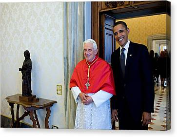 President Barack Obama Meets With Pope Canvas Print