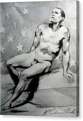 President Barack Obama Nude Study Canvas Print by Karine Percheron-Daniels