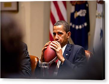 President Barack Obama Pensively Holds Canvas Print