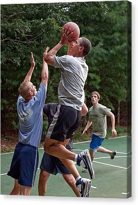 Democrats Canvas Print - President Barack Obama Plays Basketball by Everett